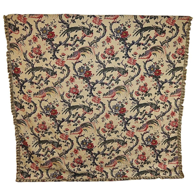 Birds and Flowers Linen Panel and Pair of Linen Curtains, French 19th Century For Sale