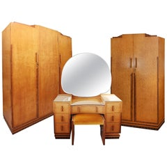 Birds Eye Maple Art Deco Bedroom Suite by Caplans Cabinets Dressing Table
