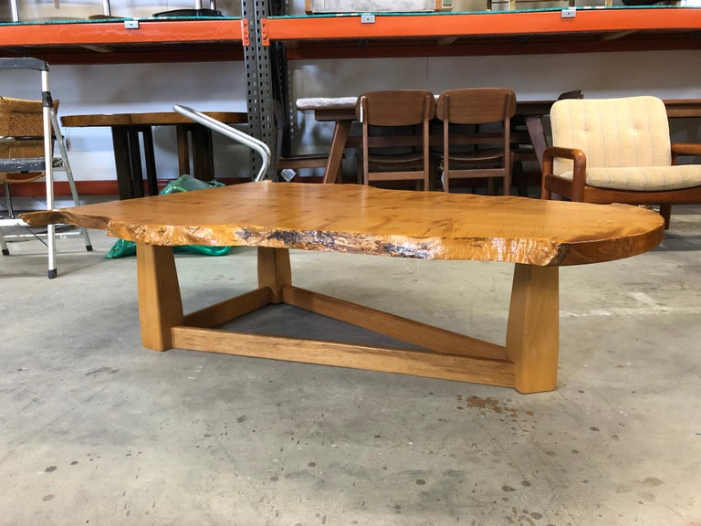 Bird's-Eye Maple Modern Live Edge Slab Coffee Table For Sale 3