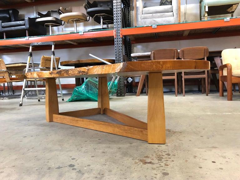Bird's-Eye Maple Modern Live Edge Slab Coffee Table For Sale 4