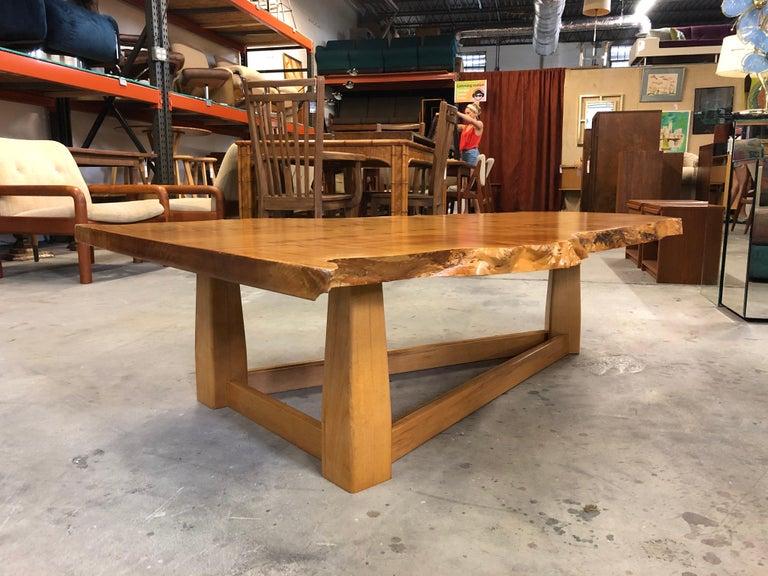 Bird's-Eye Maple Modern Live Edge Slab Coffee Table For Sale 5