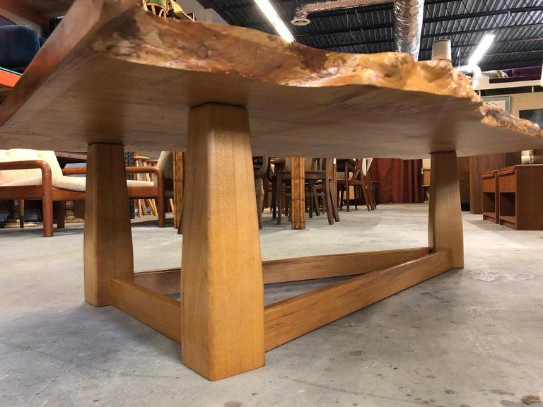Bird's-Eye Maple Modern Live Edge Slab Coffee Table For Sale 6