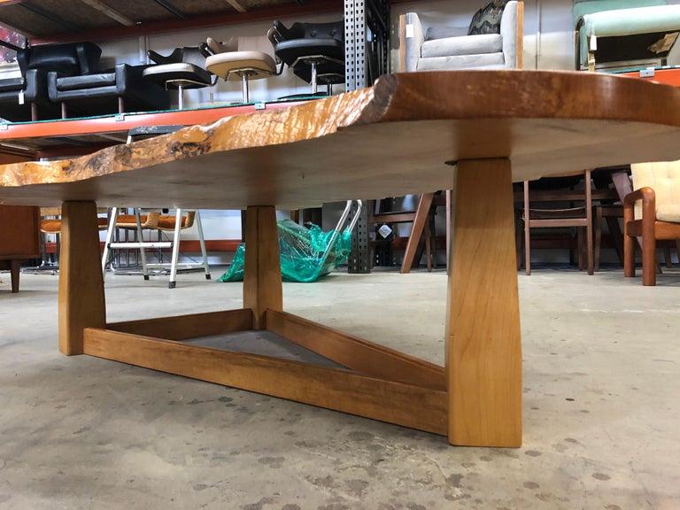 Bird's-Eye Maple Modern Live Edge Slab Coffee Table For Sale 7