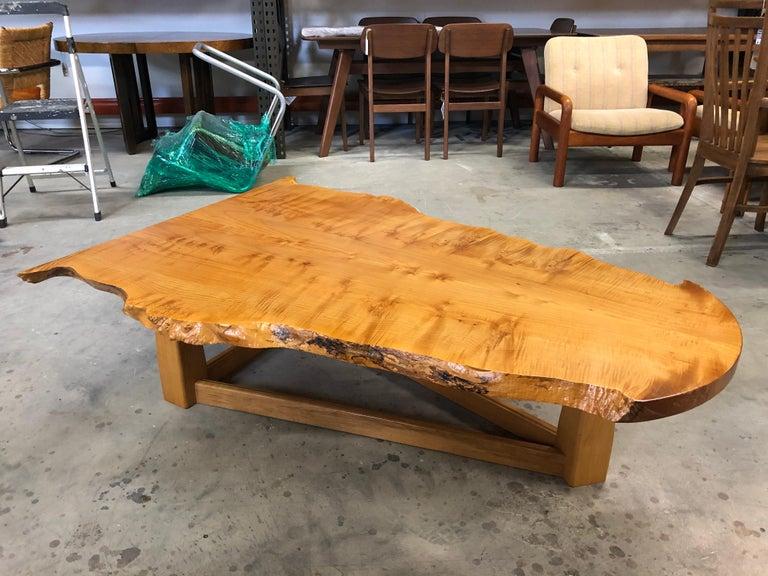 American Bird's-Eye Maple Modern Live Edge Slab Coffee Table For Sale