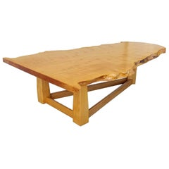 Bird's-Eye Maple Modern Live Edge Slab Coffee Table