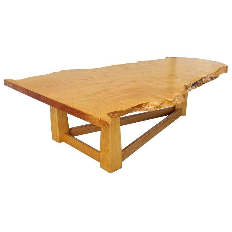 Bird's-Eye Maple Modern Live Edge Slab Coffee Table For Sale