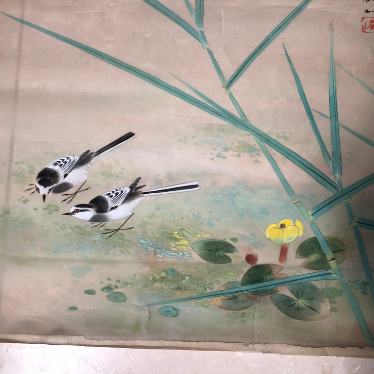 Birds & Flowers Galore Japanese Antique Hand-Painted Silk Painting Taisho  Period