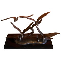 """Birds in Flight"" Bronze Sculpture in the Style of Curtis Jere"