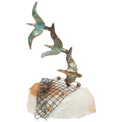 Birds in Flight off Coast Sculpture on Onyx Stone by Curtis Jere