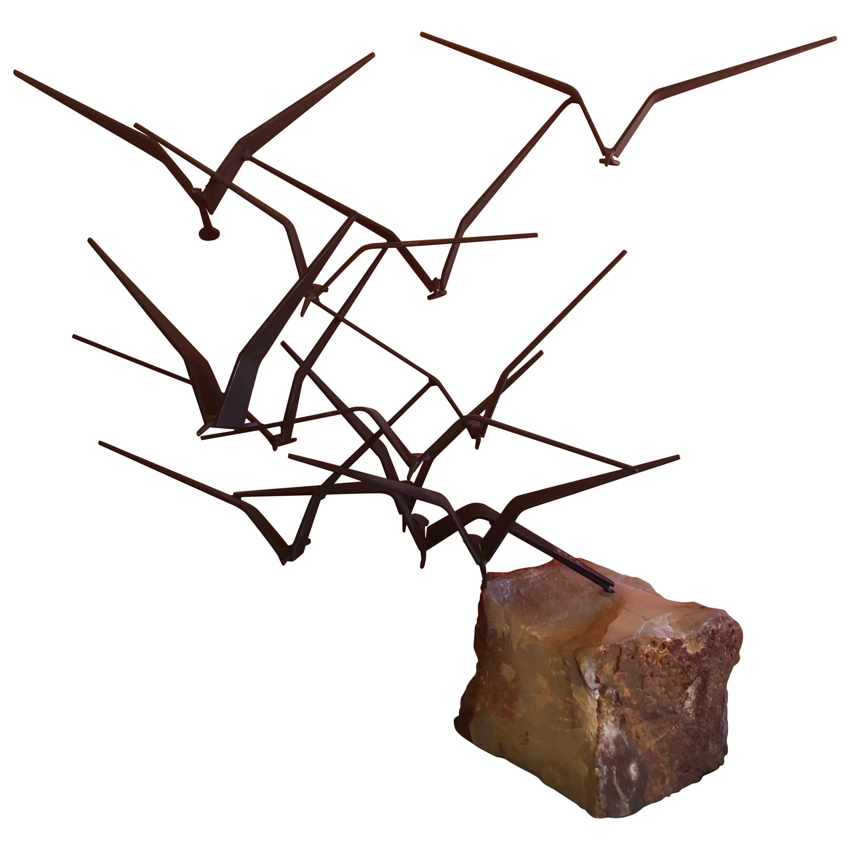 """Birds in Flight"" Sculpture with Black Finish by Curtis Jere for Artisan House"