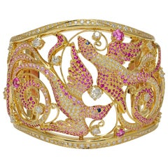 Birds of Paradise Pink Sapphires and Diamonds Rose Gold Wide Cuff Bracelet