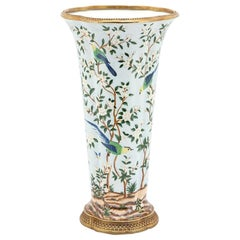 Birds Porcelain Vase with Bronze