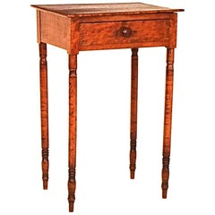 Birdseye and Tiger Maple Sheraton One Drawer Stand