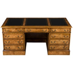 Birdseye Maple Pedestal Desk with Leather Top