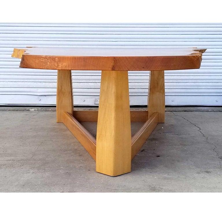 Bird's-Eye Maple Modern Live Edge Slab Coffee Table For Sale 1