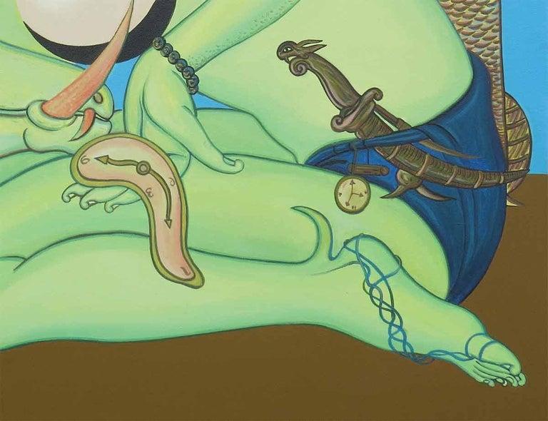 Viswaroopam 1, Hindu Mythical, Acrylic on Canvas, Blue, Green, Pink