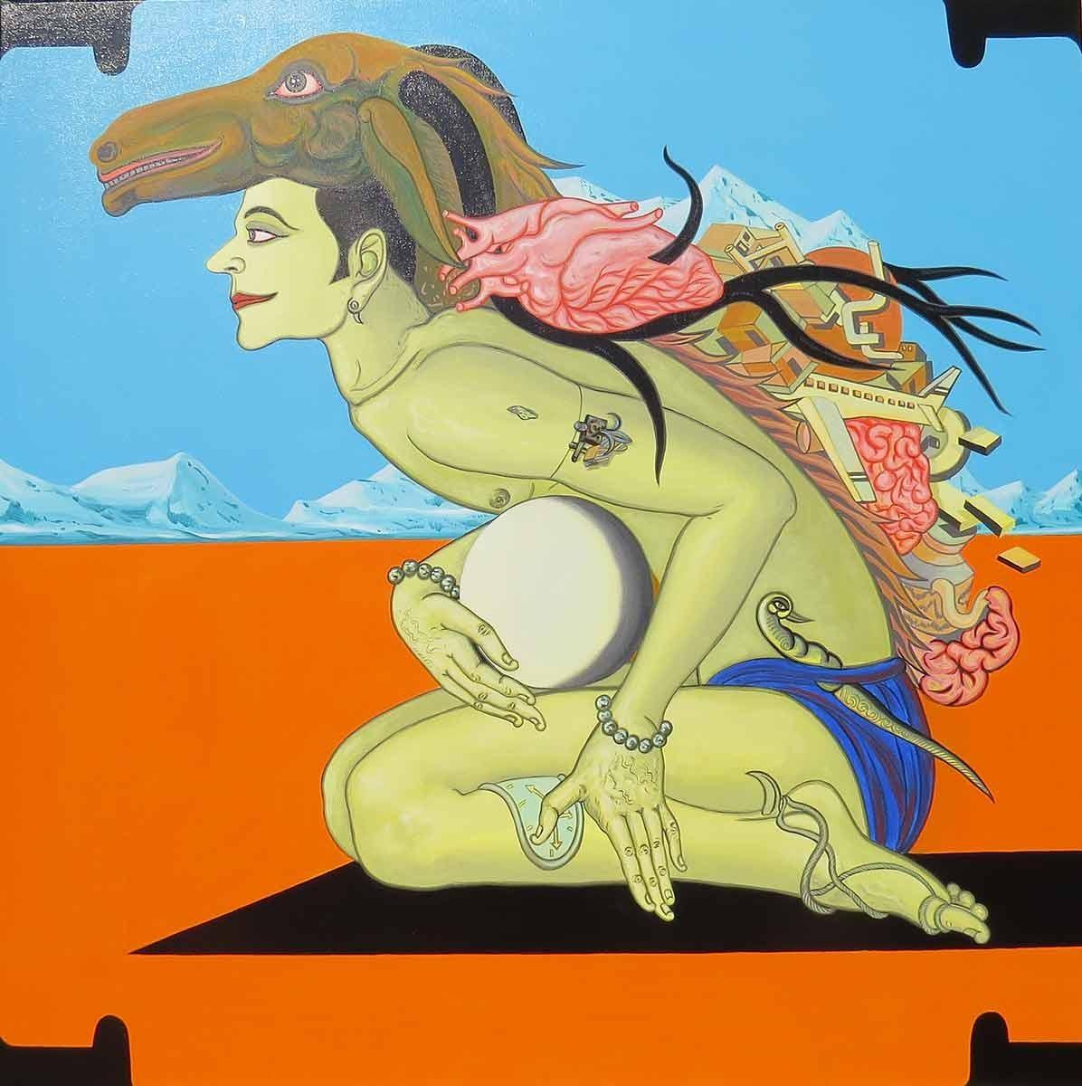 "Viswaroopam Returns, Mythopoetic, Varaha Avatara, Acrylic on Canvas ""In Stock"""