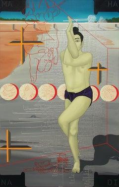 "Yoga Postures, Dancers of Odisha, Orange, Grey, Red, Indian Artist""In Stock"""