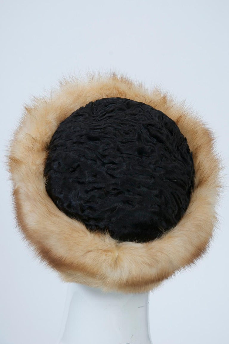 Brown Birger Christensen Broadtail and Sable Hat For Sale