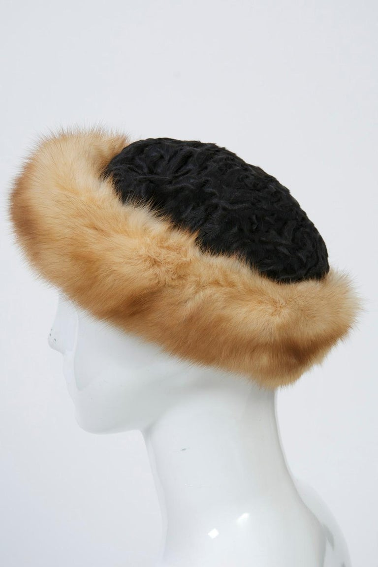 Birger Christensen Broadtail and Sable Hat In Good Condition For Sale In Alford, MA