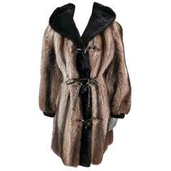 Birger christensen raccoon fur coat with sheared beaver trim size 4-6