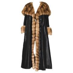 Birger Christensen Silk Coat with Sable Trim, Cuffs & Hood Belted