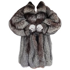 Birger christensen silver fox fur coat size 12