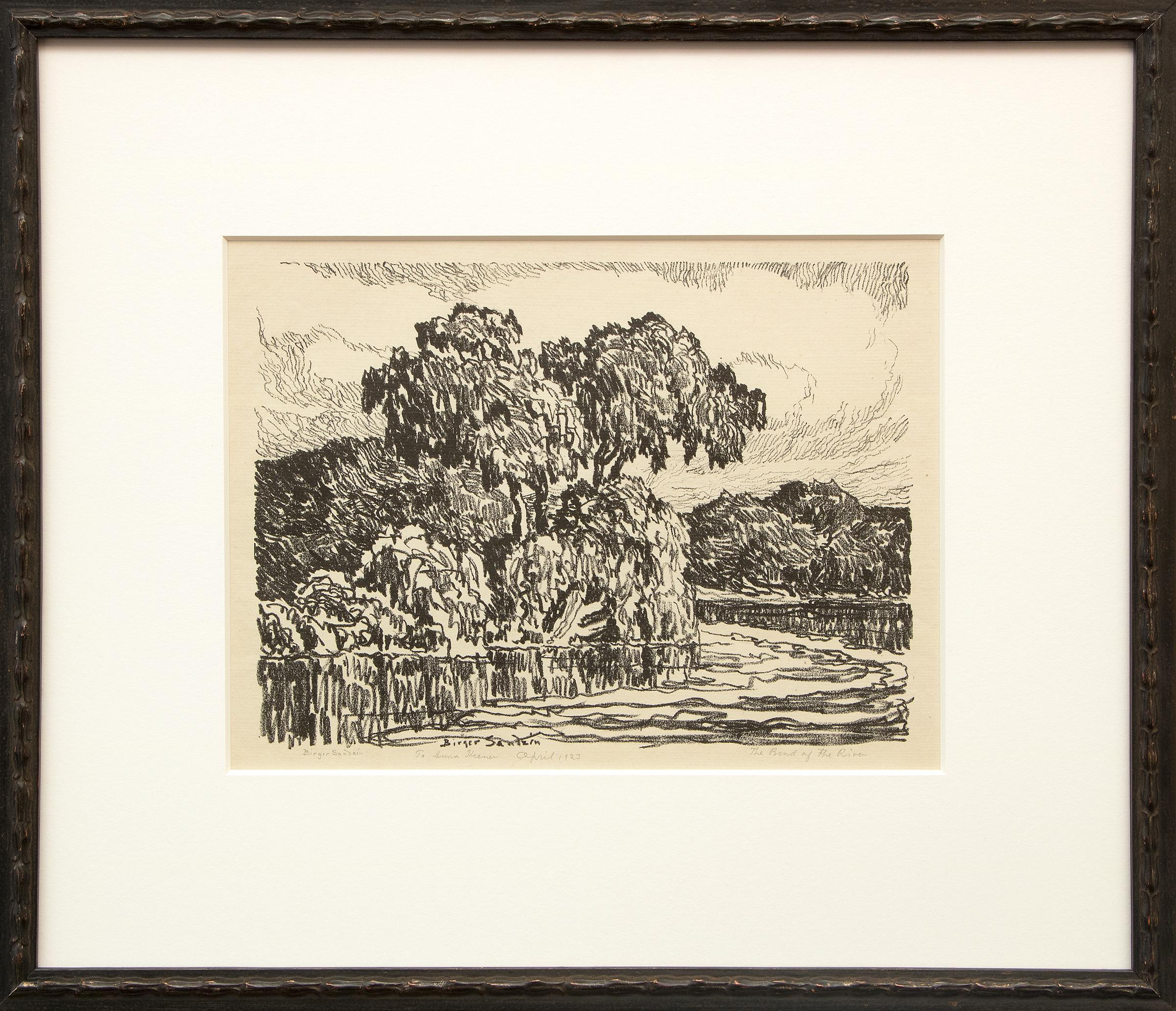 The Bend of the River, Vintage Original Signed Lithograph by Birger Sandzen