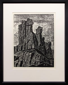 The Temple of the Great Spirit (Colorado Landscape, 1922 Black & White Woodcut)