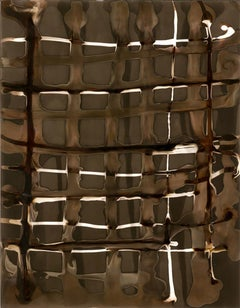 Grid. No 11 (Contemporary Framed Abstract Grid in Black & Coffee)