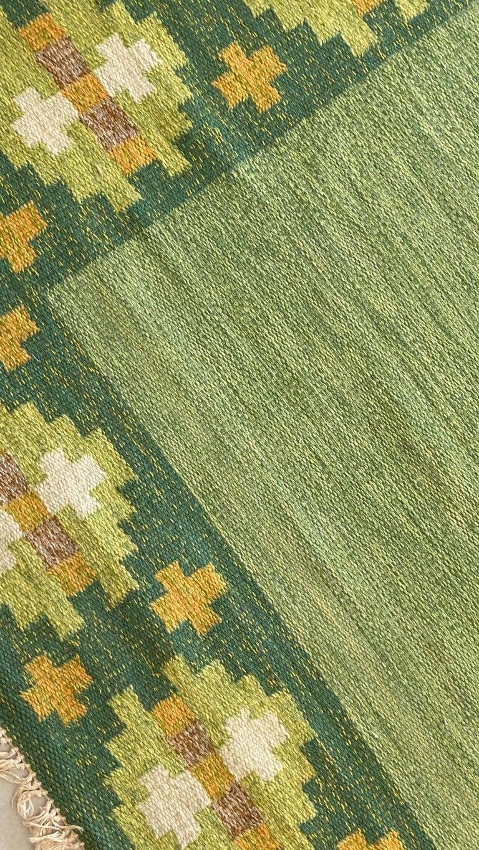 Scandinavian Modern Birgitta Södergren, Signed Flat-Weave Carpet, Green-Dyed Wool, Sweden, 1950s For Sale