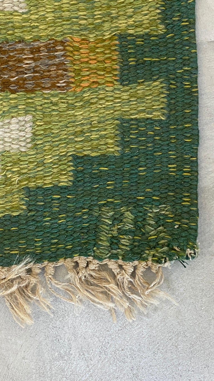 Birgitta Södergren, Signed Flat-Weave Carpet, Green-Dyed Wool, Sweden, 1950s In Good Condition For Sale In West Palm Beach, FL