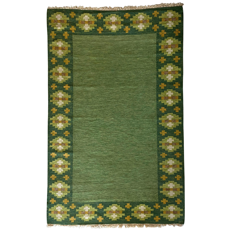Birgitta Södergren, Signed Flat-Weave Carpet, Green-Dyed Wool, Sweden, 1950s