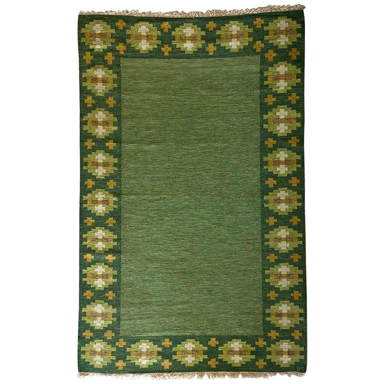 Birgitta Södergren, Signed Flat-Weave Carpet, Green-Dyed Wool, Sweden, 1950s For Sale