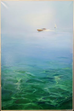 """Boat in horizon"" Sea,Blue,Light Blue,Boat,water ,Offer Free Shipping"