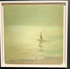 """""""Dive into the sea"""" Mediterranean, swimming, Sea, Green, Oil cm. 40 x 40"""