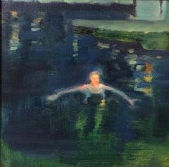 """Night bath "" Water,Night   oil  2012  cm. 30 x 30"