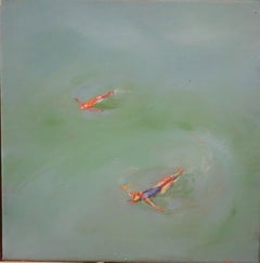 """""""Summer"""" Water,Swimmers,Sea,Blue, cm. 30 x 30"""