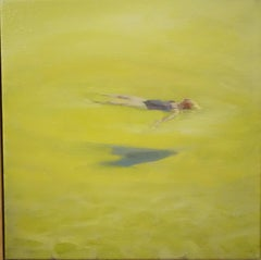 """""""Summer"""" Water,Swimmers,Sea,Yellow cm. 30 x 30"""