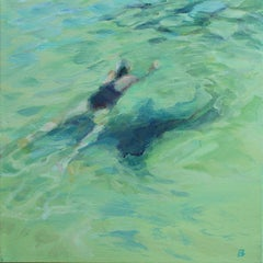 """Swimmer II "" Water,Sea,Women Oil  cm. 30 x 30"
