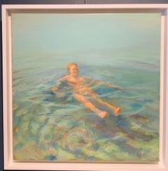 """Woman in the Mediterranean"" Nourisher, swimming, Sea, Turquoise Oil cm. 40 x 40"