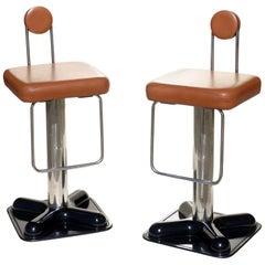 """Birillo"" Joe Colombo for Zanotta Italian Design 1970s Bistrò Pair of Stools"