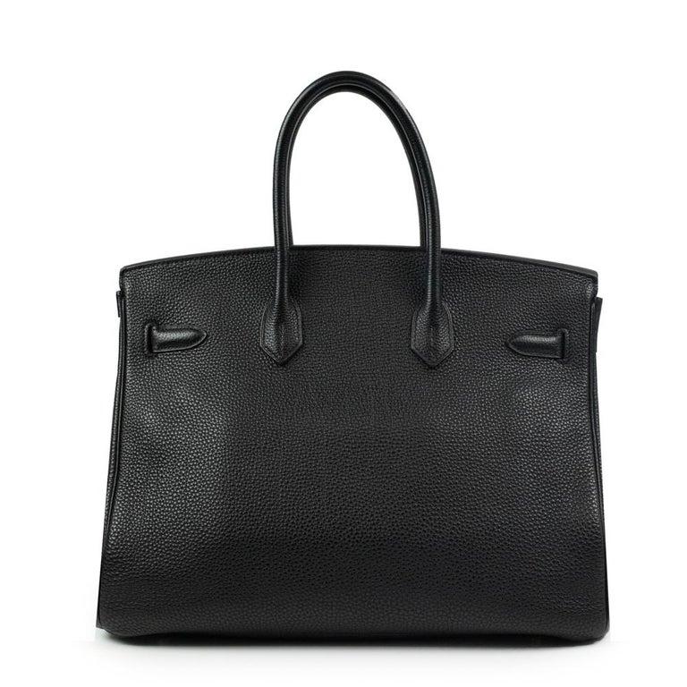 Black Birkin 35 in black leather For Sale