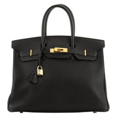 Birkin Handbag Black Clemence with Gold Hardware 35