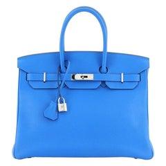 Birkin Handbag Bleu Hydra Clemence with Palladium Hardware 35