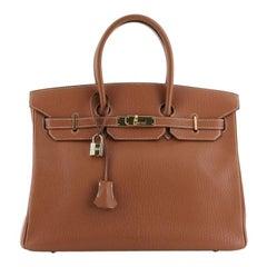 Birkin Handbag Cognac Chevre de Coromandel with Gold Hardware 35