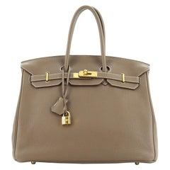 Birkin Handbag Etoupe Clemence with Gold Hardware 35