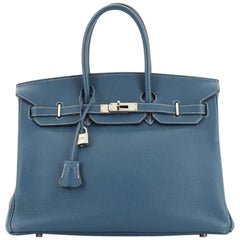 Birkin Handbag Grey Clemence with Palladium Hardware 35