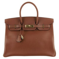 Birkin Handbag  Marron Fonce Ardennes with Gold Hardware 35