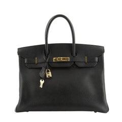 Birkin Handbag Noir Ardennes with Gold Hardware 35